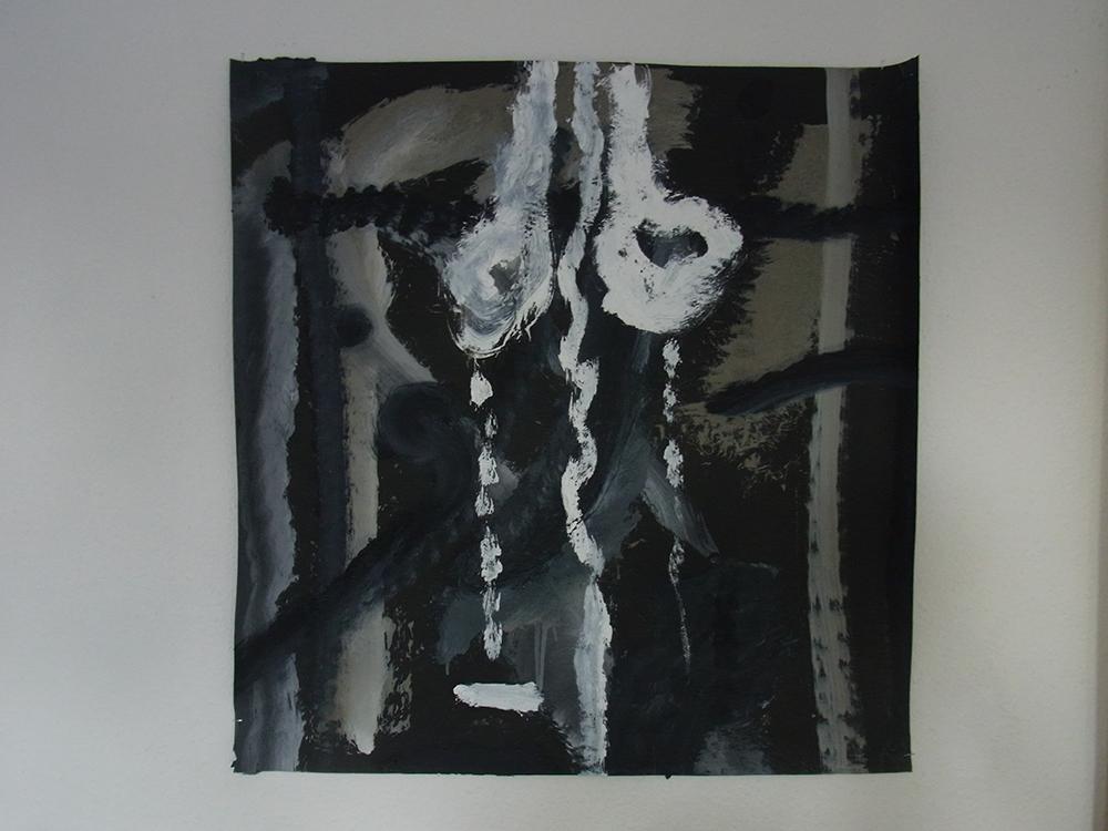 Untitled, oil on paper, 80 x 70 cm, 2017. Ali Labgaa.
