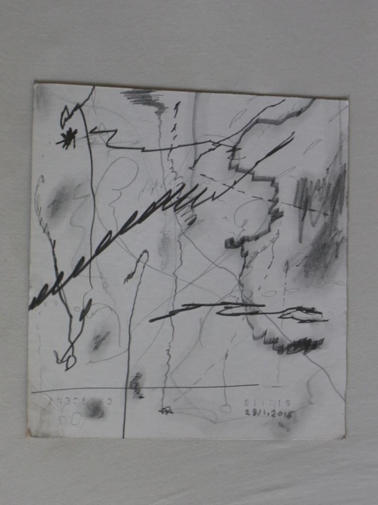 Untitled, graphit on passepartout, 25 x 25 cm, 2017. Ali Labgaa.